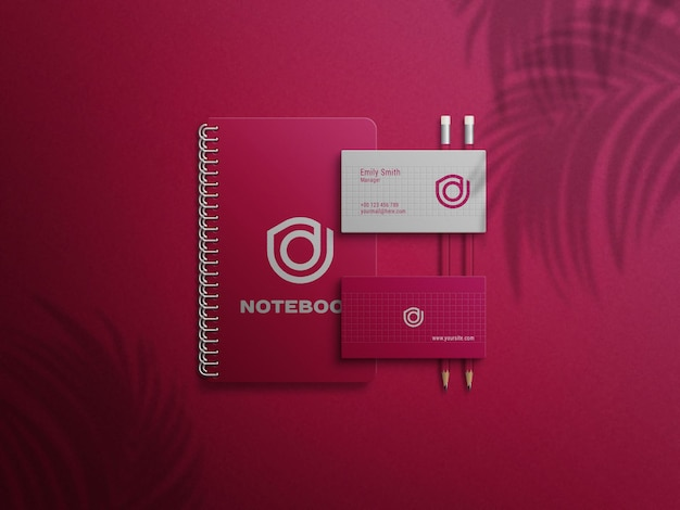 Maquete vermelho premium do cartão de visita notebook
