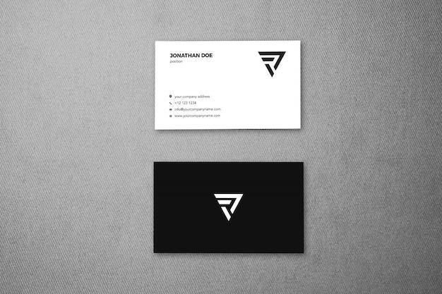 Maquete vertical de superfície de tecido de linho businesscard