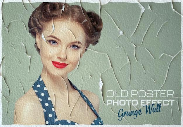 Maquete vintage com efeito de foto de pôster rachado