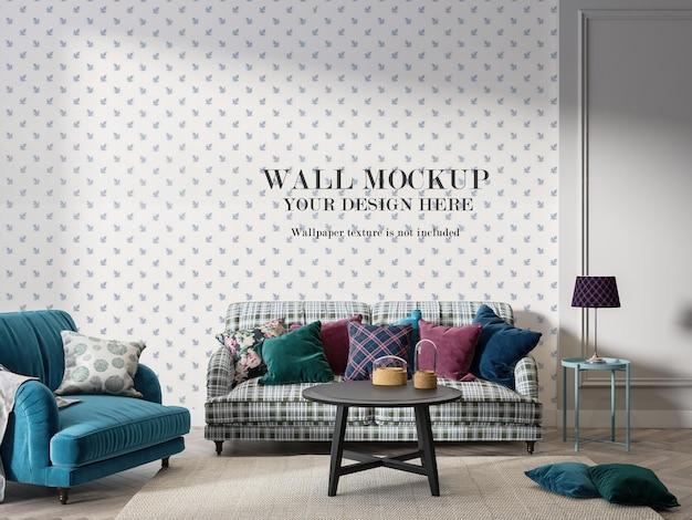 Maquete vintage da parede da sala de estar em renderização 3d