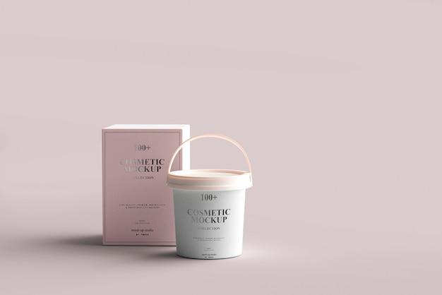 Maquetes de baldes de produtos cosméticos