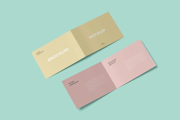 Maquetes de brochura com duas dobras em paisagem tamanho a4