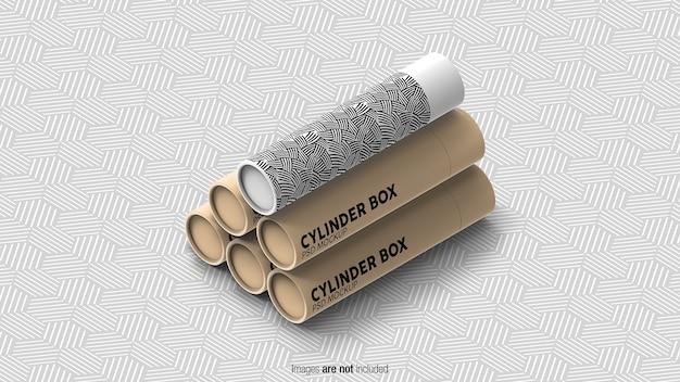 Maquetes de caixas cilíndricas isoladas