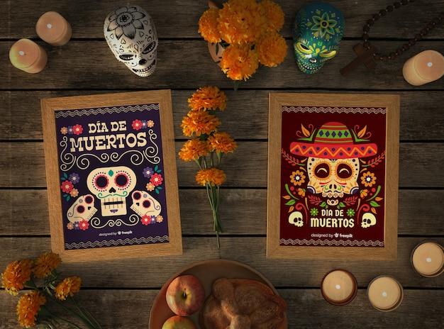 Maquetes de crânio mexicano de vista superior com elementos festivos