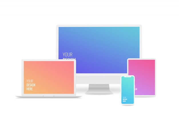 Maquetes de dispositivos responsivos. computador, laptop, smartphone, tablet