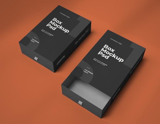 Maquetes de duas caixas de slides quadradas
