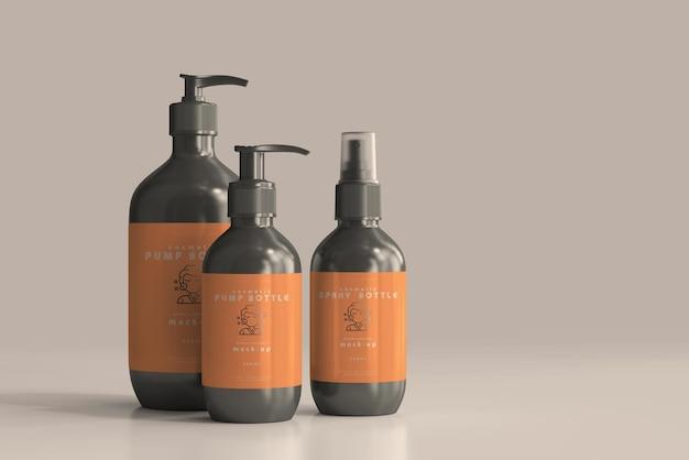 Maquetes de frasco de bomba cosmética e frasco spray
