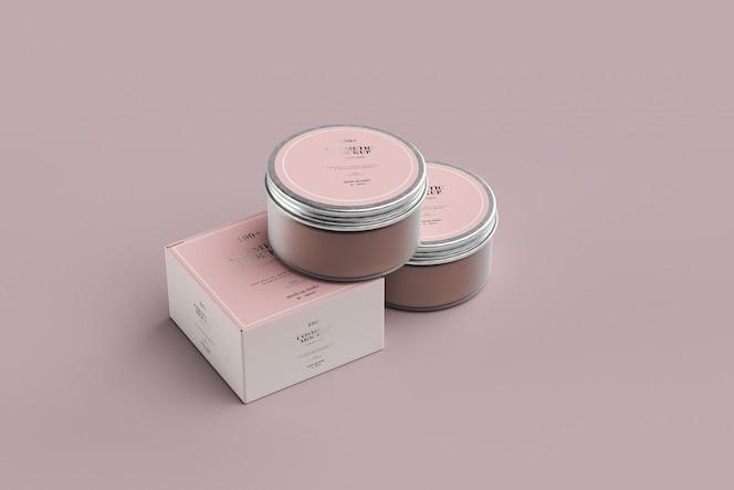 Maquetes de jarros de cosméticos