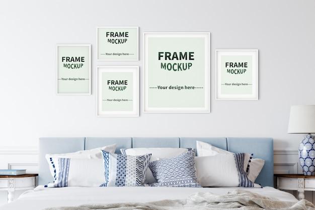 Maquetes de moldura de cinco imagens em estilo nórdico