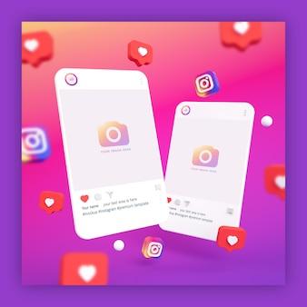 Maquetes de postagens no instagram 3d com ícones de coração e instagram