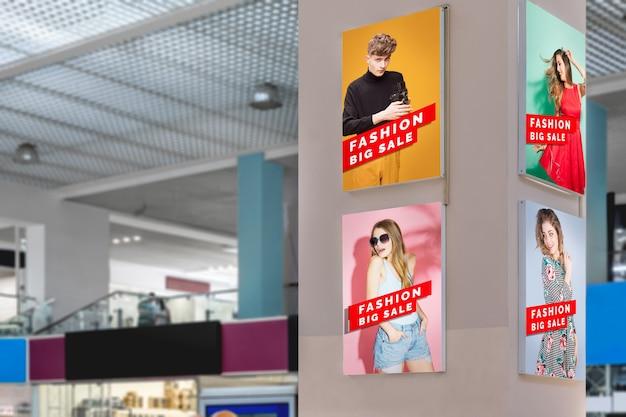 Maquetes de publicidade no shopping