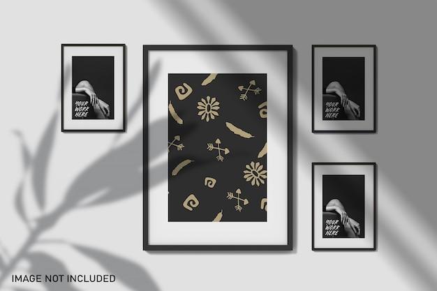 Maquetes de quadro com sobreposição de sombra