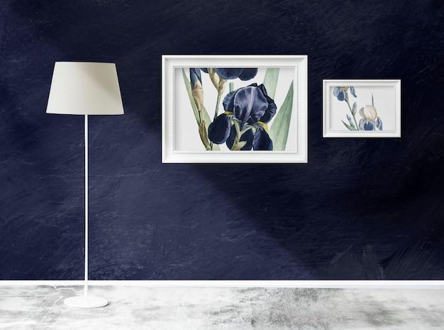 Maquetes de quadro em uma sala com uma lâmpada