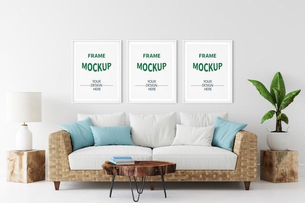 Maquetes de quadros de parede branca