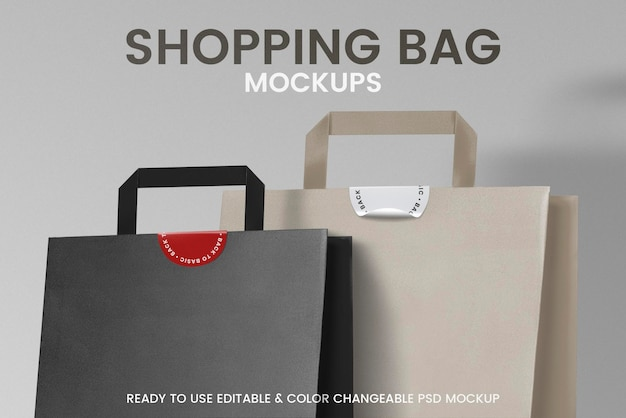Maquetes de sacola de compras de papel psd