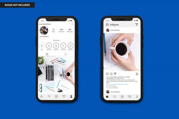 Maquetes de smartphone para exibir o modelo de postagem do instagram