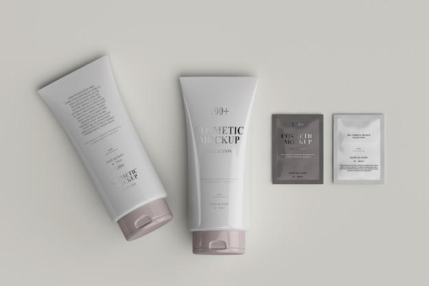 Maquetes de tubos cosméticos com saquinho
