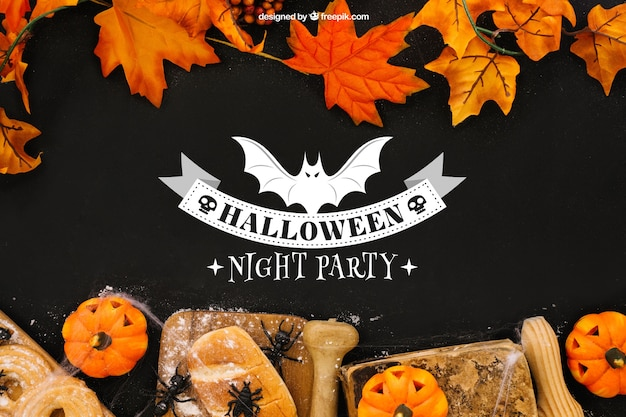 Maquiagem de halloween com folhas e pão