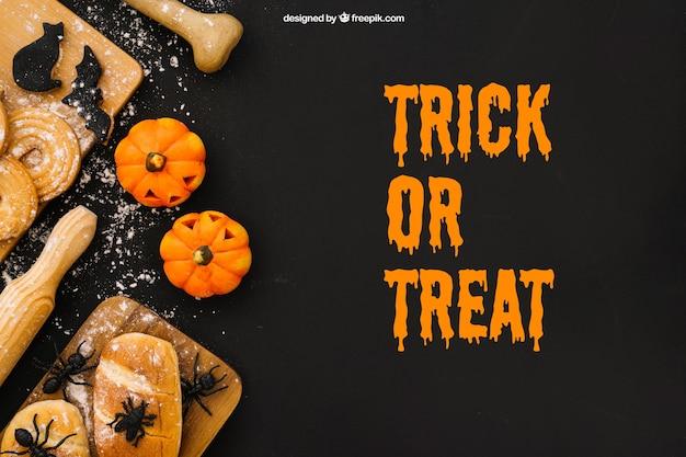 Maquiagem de halloween com insetos em pão