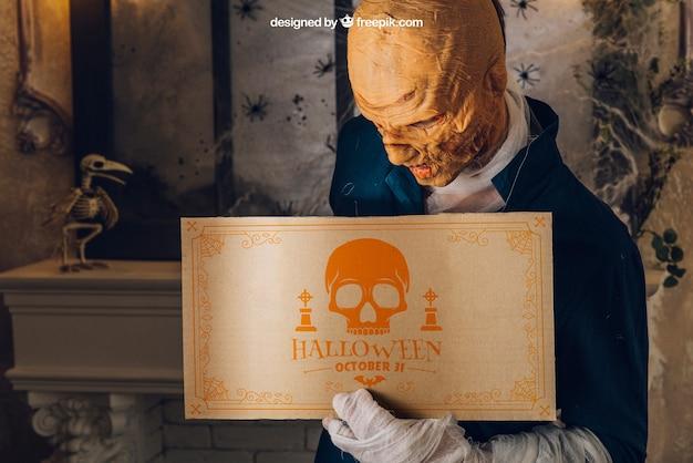 Maquiagem de halloween com morto ambulante Psd grátis