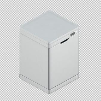 Máquina de lavar louça isométrica 3d render