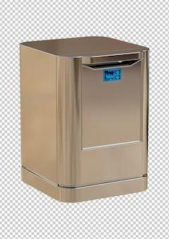 Máquina de lavar louça moderna e inteligente em aço escovado isolada