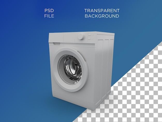 Máquina de lavar roupa 3d render branco
