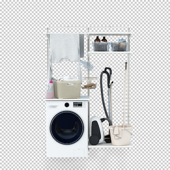 Máquina de lavar roupa em renderização em 3d
