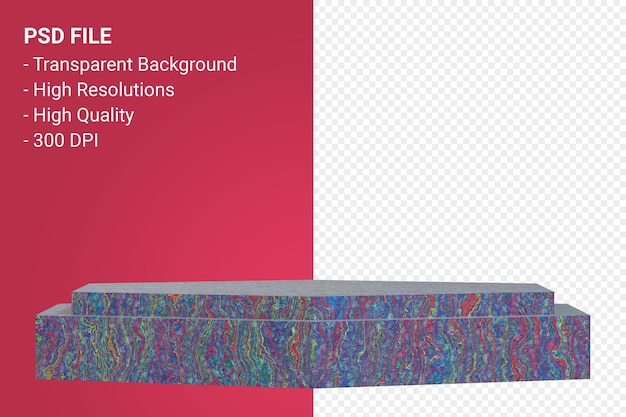Marble podium mínimo em fundo transparente para apresentação de produtos cosméticos
