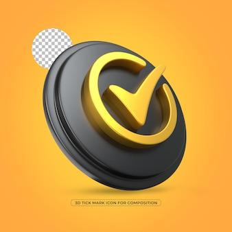 Marca de escala isolada ícone dourado renderizado em 3d