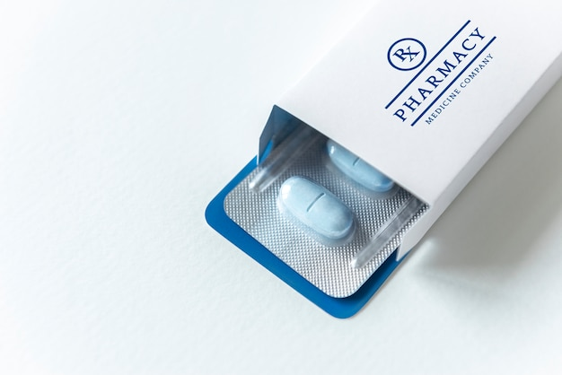 Marca de medicação e maquete de embalagem