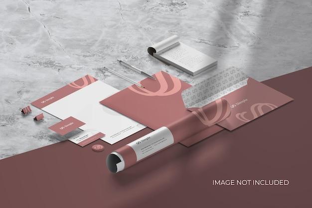 Marca de papelaria isométrica - criador de cena de maquete