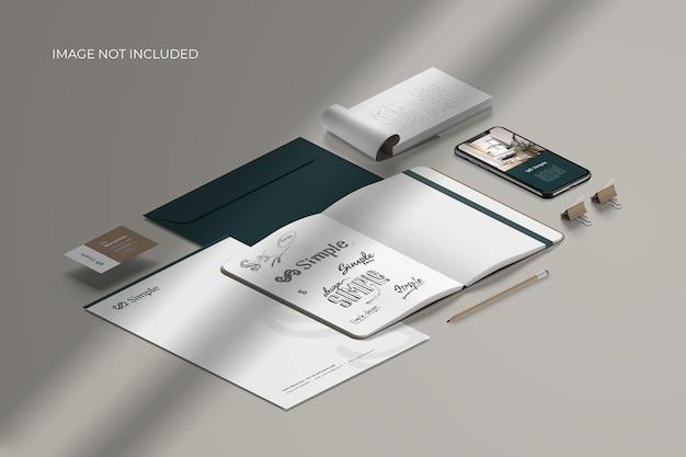 Marca de papelaria isométrica - criador de cena de maquete Psd Premium