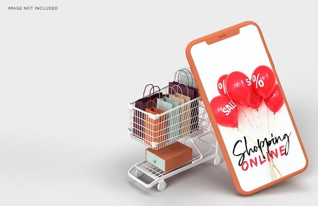 Marketing de conceito de negócio de maquete de compras online