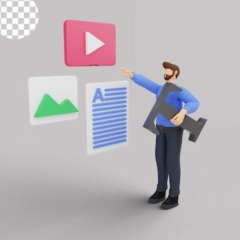 Marketing de conteúdo de ilustração 3d com o homem de azul