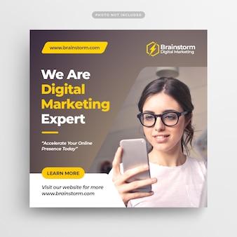 Marketing digital de negócios mídias sociais post banner & square flyer