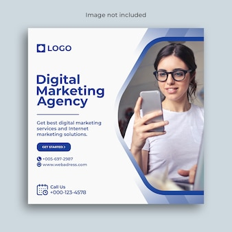 Marketing digital instagram mídia social post banner