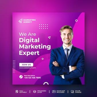 Marketing digital solução de negócios promoção instragrama post template psd