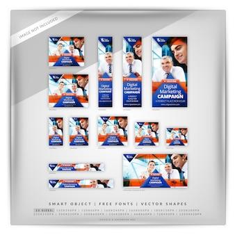 Marketing empresarial triângulo anúncios google e facebook