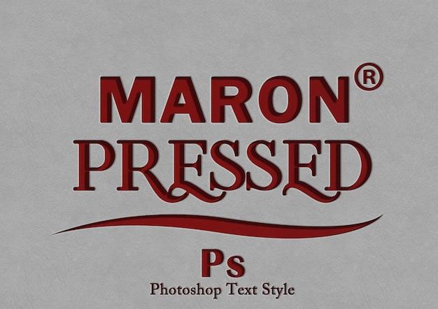 Maron pressione o efeito de estilo de texto