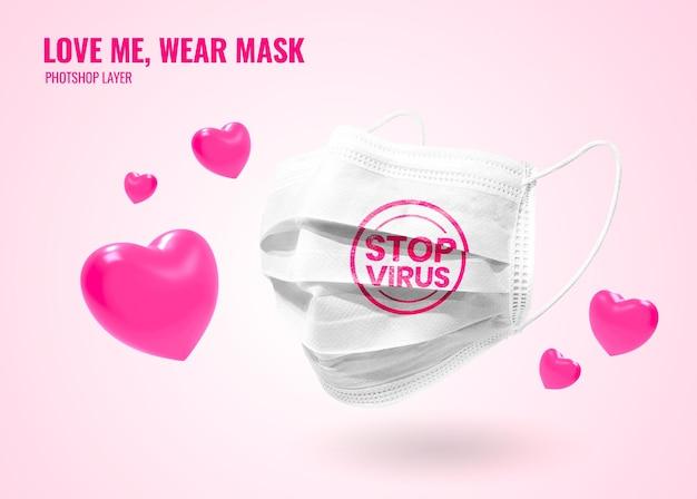 Máscara com maquete de coração dia dos namorados realista
