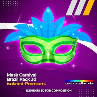 Máscara de logotipo de carnaval em renderização 3d