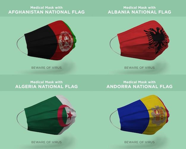 Máscara médica com as bandeiras da nação afeganistão, albânia, argélia, andorra
