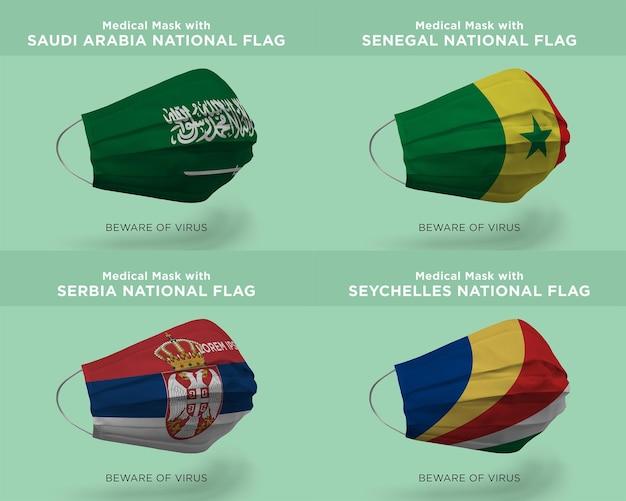 Máscara médica com as bandeiras da nação da arábia saudita senegal sérvia seychelles