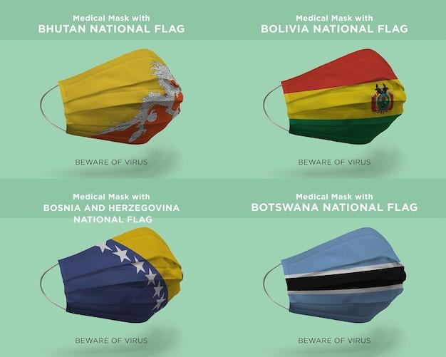 Máscara médica com as bandeiras da nação do butão bolívia bósnia e herzegovina botswana