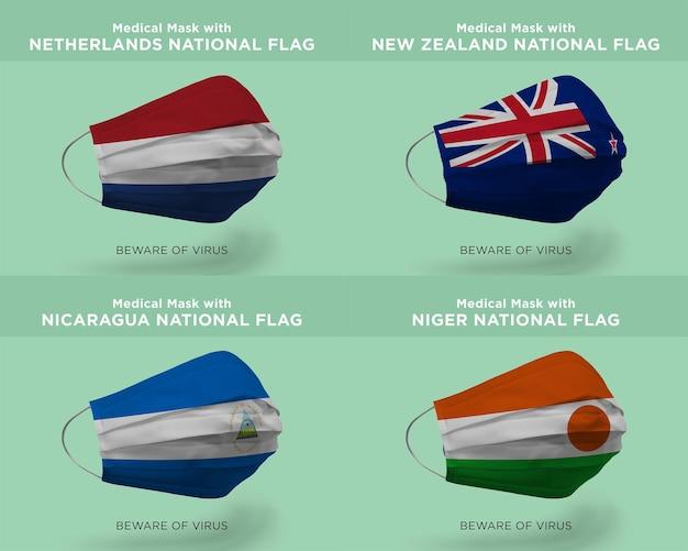 Máscara médica com as bandeiras da nação holandesa da nova zelândia, da nicarágua, da nigéria