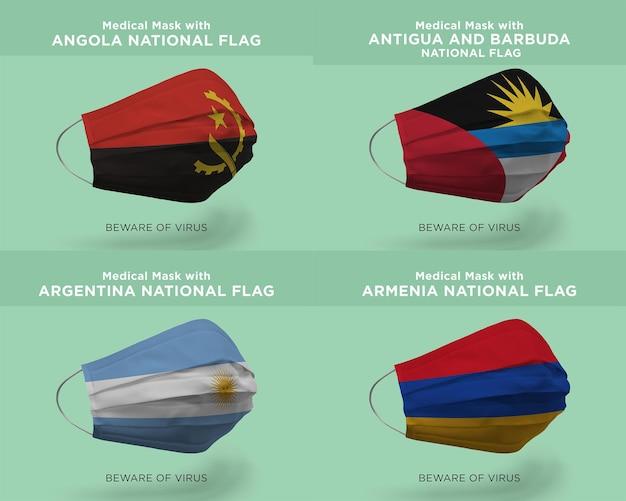 Máscara médica com bandeiras da nação angola antigua argentina armênia