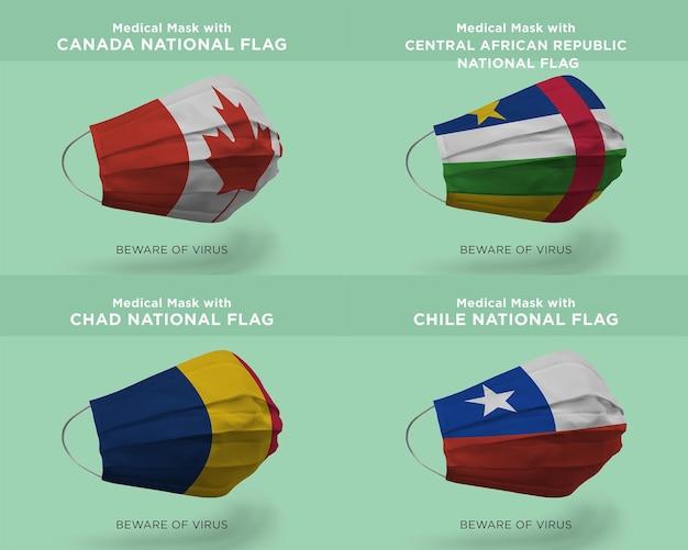 Máscara médica com bandeiras da nação canadá república centro-africana chade chile