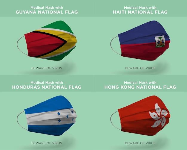 Máscara médica com bandeiras da nação da guiana haiti honduras hong kong