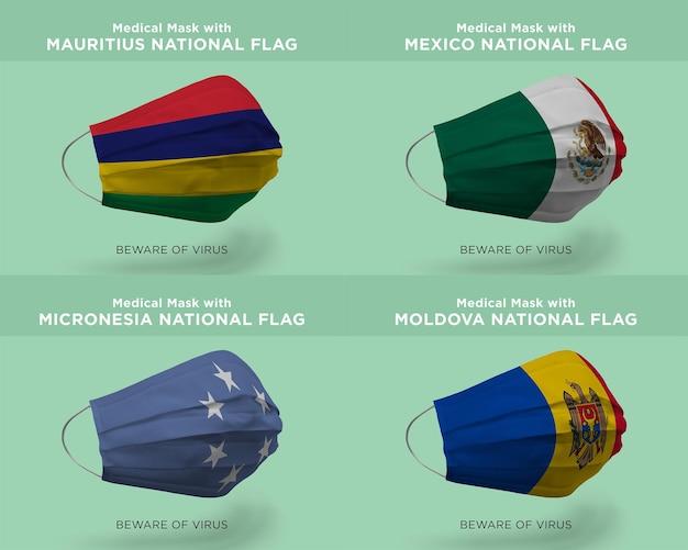Máscara médica com bandeiras da nação da moldávia mexco da maurícia micronésia